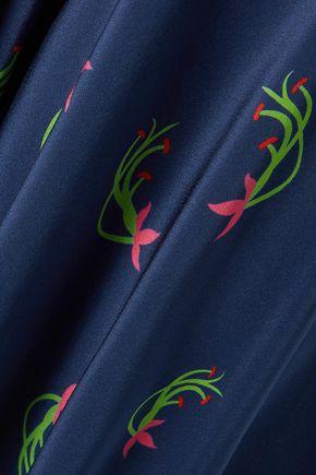 JALINE Charlotte floral-print silk crepe de chine wide-leg pants