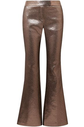 RACHEL ZOE Metallic crepe flared pants