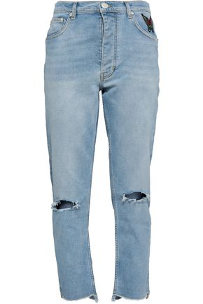 MAJE Appliquéd distressed high-rise straight-leg jeans