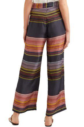 APIECE APART Striped silk-satin wide-leg pants