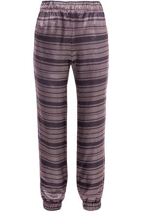 HANEY Colette striped silk-blend lamé tapered pants