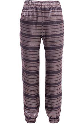 HANEY Colette striped silk-blend lamé tapered pants