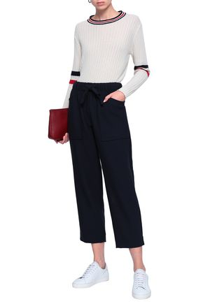 MAJE Pavot cropped crepe straight-leg pants