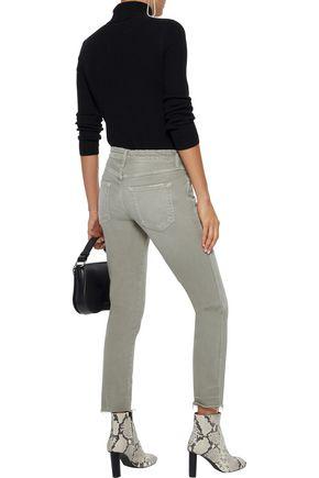 AMO Stix cropped distressed mid-rise slim-leg jeans
