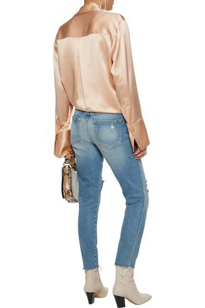 AMO Distressed faded mid-rise slim-leg jeans