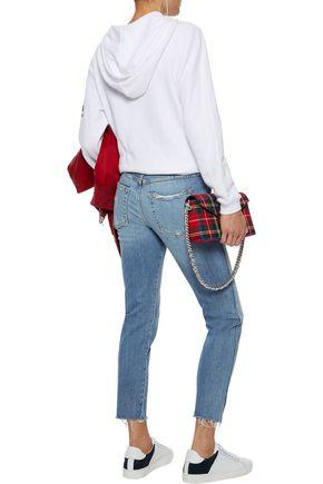 AMO Twist cropped distressed mid-rise slim-leg jeans