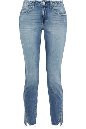 AMO Twist cropped distressed mid-rise slim-leg jeans