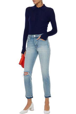 AMO Babe distressed mid-rise slim-leg jeans