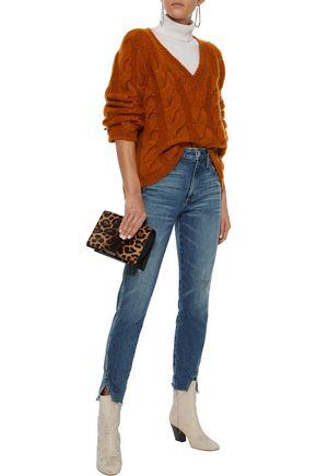 AMO Twist cropped distressed high-rise slim-leg jeans