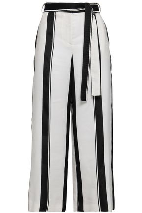 MAJE Polson belted striped crepe culottes