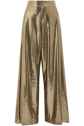 JOHANNA ORTIZ NY Never Sleeps polka-dot sequined mesh wide-leg pants