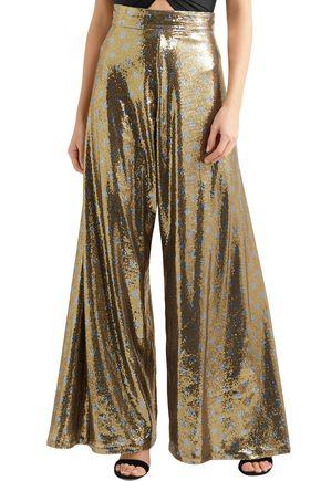 JOHANNA ORTIZ NY Never Sleeps polka-dot sequined mesh wide-leg pants