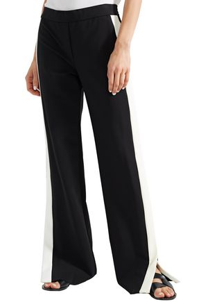 THEORY Striped stretch-wool straight-leg pants