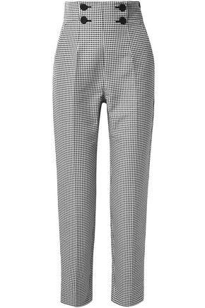 SARA BATTAGLIA Button-embellished gingham cotton-blend straight-leg pants