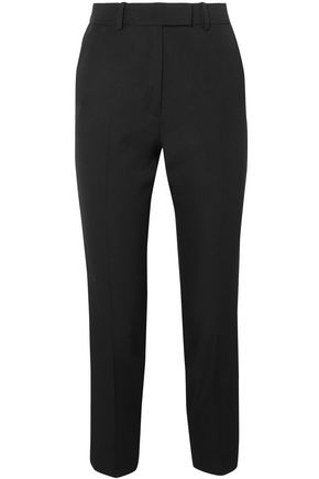 RACIL Aries cropped satin-trimmed wool slim-leg pants