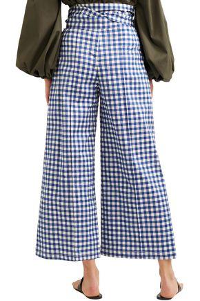 SILVIA TCHERASSI Salve cropped gingham stretch-cotton wide-leg pants