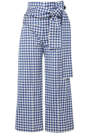 SILVIA TCHERASSI Salve cropped gingham stretch-cotton wide-leg pants
