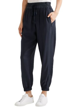 DKNY Paneled shell and twill track pants