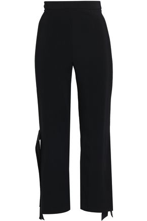 CUSHNIE Tie-detailed stretch-crepe bootcut pants