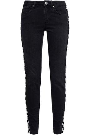 ZOE KARSSEN Embroidered mid-rise slim-leg jeans