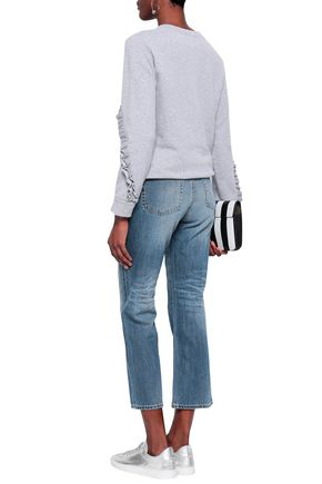 AG JEANS Cropped faded high-rise straight-leg jeans