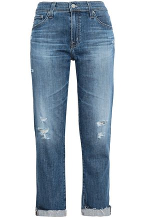 AG JEANS Distressed faded boyfriend jeans