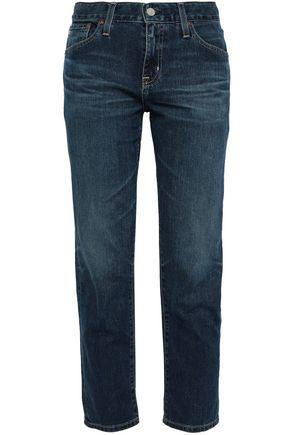 AG JEANS Cropped faded boyfriend jeans