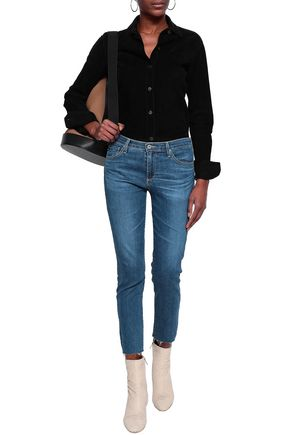 AG JEANS Cropped faded mid-rise slim-leg jeans