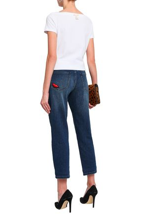 KATE SPADE New York Appliquéd cropped mid-rise straight-leg jeans