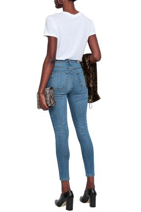 AG JEANS Distressed faded high-rise skinny jeans