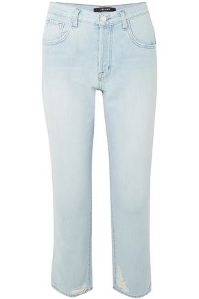 J BRAND Wynne cropped distressed high-rise straight-leg jeans
