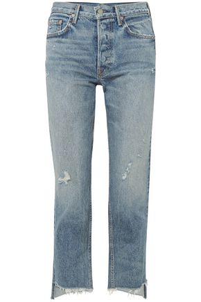 GRLFRND Cropped distressed mid-rise straight-leg jeans