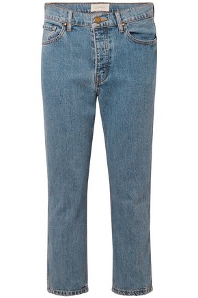 THE GREAT. Cropped high-rise straight-leg jeans