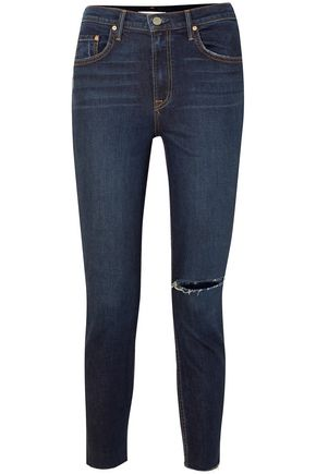 GRLFRND Distressed high-rise slim-leg jeans