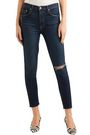 GRLFRND Distressed high-rise slim-leg jeans