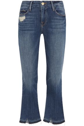FRAME Le Crop Mini distressed mid-rise kick-flare jeans