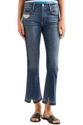 FRAME Le Crop Mini distressed mid-rise kick-flare jeans