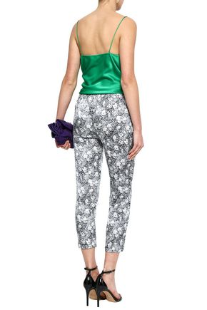 SHRIMPS Angus cropped printed silk tapered pants
