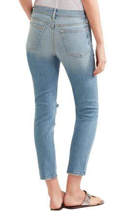 FRAME Distressed high-rise slim-leg jeans
