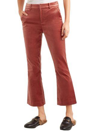 FRAME Cotton-blend velvet bootcut pants