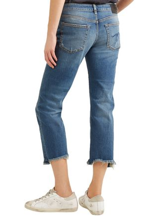 R13 Distressed low-rise straight-leg jeans