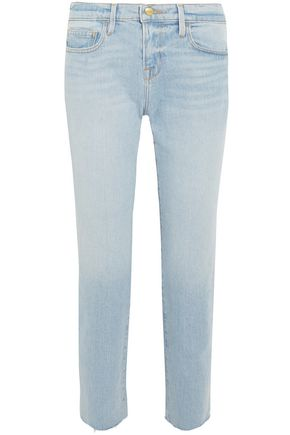 FRAME Cropped faded boyfriend jeans