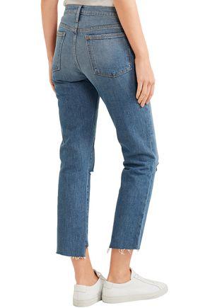 FRAME Le Noveau cropped distressed mid-rise straight-leg jeans