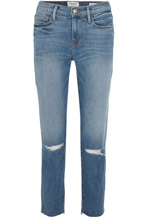 FRAME Le Noveau cropped distressed mid-rise straight-leg jeans