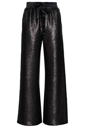 CINQ À SEPT Sierra silk satin-trimmed sequined woven wide-leg pants