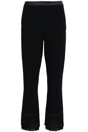 CINQ À SEPT Fringe-trimmed crepe straight-leg pants