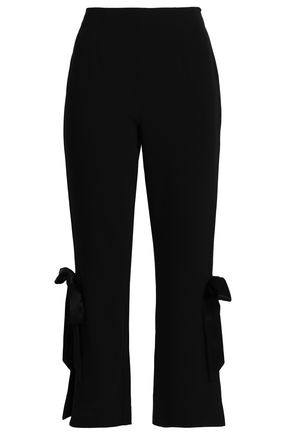 CINQ À SEPT Lou bow-embellished stretch-crepe straight-leg pants