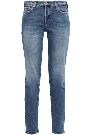 7 FOR ALL MANKIND Faded mid-rise slim-leg pants