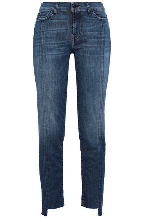 7 FOR ALL MANKIND Distressed mid-rise slim-leg jeans