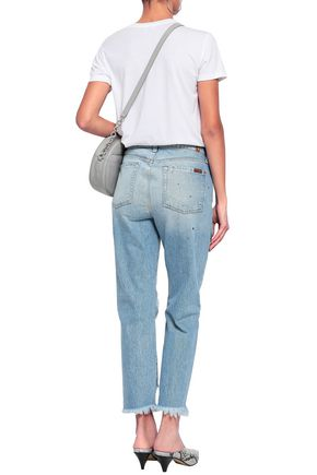 7 FOR ALL MANKIND Josefina studded distressed high-rise straight-leg jeans